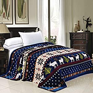 BNF Home Christmas Collection Flannel Fleece Blanket, Queen
