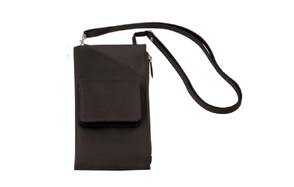 Travelon Cross Body Shoulder Travel Wallet Brown Neck Purse Passport Organizer - Dark Brown