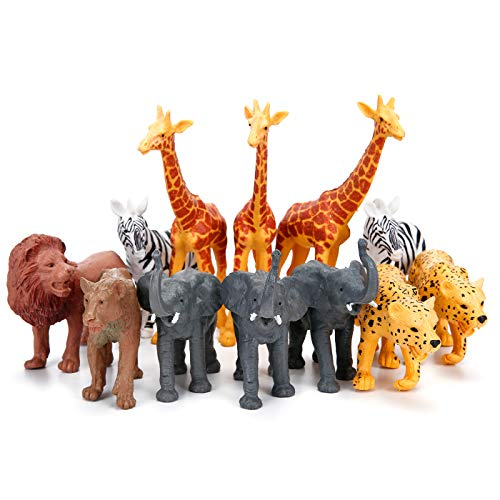 (Jumbo Safari Animal Figurines Toys, 12 Piece African Jungle Zoo Animals Figures, Realistic Wild Plastic Animals Toy with Elephant, Giraffe, Lion Educational Playsets for Toddlers, Kids Birthday Set)