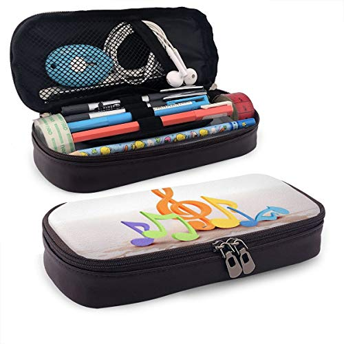 Pencil Case, Color Music Notation Pencil Pouch Pen Case Pencil Bag Durable Students Office College School Stationery with Double Zipper