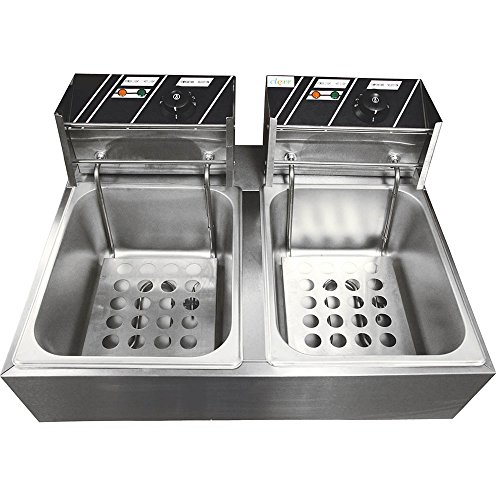 Clevr 11 Liter Capacity Commercial Stainless Steel Deep Fryer Machine 110v Double Two Tank Design by Clevr (Image #5)