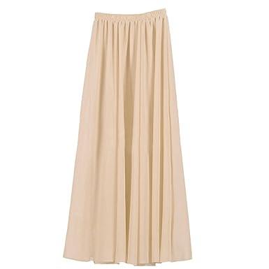 8cb26de7149a Ezcosplay Women's Double Layer Retro Chiffon Long Skirt Elastic Waist Boho  Skirt Beige