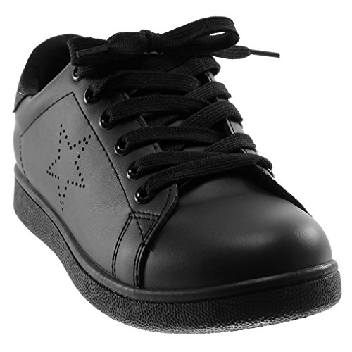 Angkorly Women's Fashion Shoes Trainers - Sporty Chic - Tennis - Glitter - Perforated - Stars Flat Heel 2.5 cm Black 4N7A5E