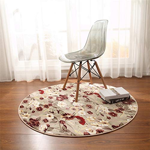 GIY Floral Round Area Rugs Living Room Carpet Circular Children Bedroom Rug Bathroom Mats Home Decorate Fashion Non-Slip Modern Runners Wine Red 3.5' X 3.5' (Baja Square Rug)