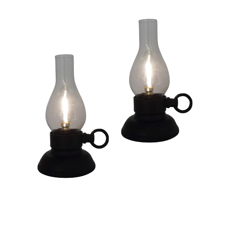 The Nifty Nook I Set of 2 Vintage Hurricane Lamp LED I Farmhouse Design I for Parties I Weddings I Home Decor (Black)