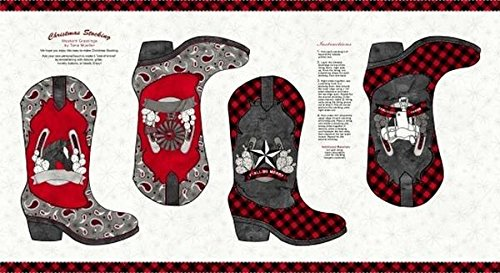 Western Greetings Western Christmas Boot Stocking Panel B09145P-01 from Blank Quilting ()