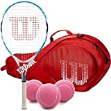Wilson Serena Williams Girl's Pre-Strung Junior Tennis Racquet and Junior Tennis Bag Bundle (Perfect for Kids Ages 3-10)