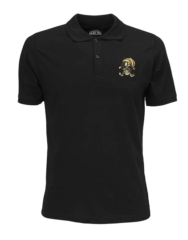 Ultimate Herren Polo Shirt Legend Schwarz mit Rasta Skull Brust Logo  Jamaika dancehallsänger Reggae One Love Hip Hop Gr. Small, Schwarz:  Amazon.de: ...