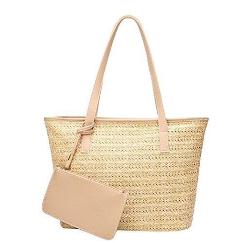Bucket Bags Womens Straw Handbags Purse Woven Totes Shoulder Bags (Beige) by Kinrui