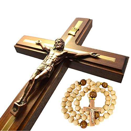 Decorative Wooden Crosses (Wooden Wall Cross Handmade Wall Crucifix - 12.6 inches)