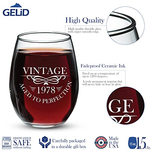1978 40th Birthday Gifts for Women and Men Wine Glass - Funny Vintage Anniversary Gift Ideas for Mom, Dad, Husband or Wife - 15 oz Glasses for Red or White Wine - Party Decorations for Him or Her by Gelid (Image #1)