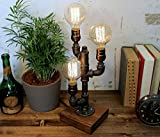Industrial Steampunk table pipe lamp with Globe Edison bulb and oak wood base