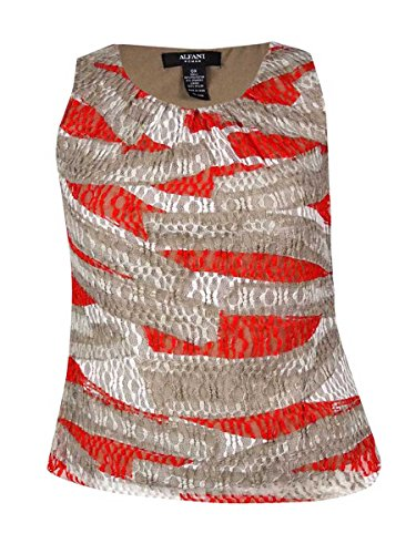 Alfani Womens Plus Lace Pleated Tank Top Taupe 1X
