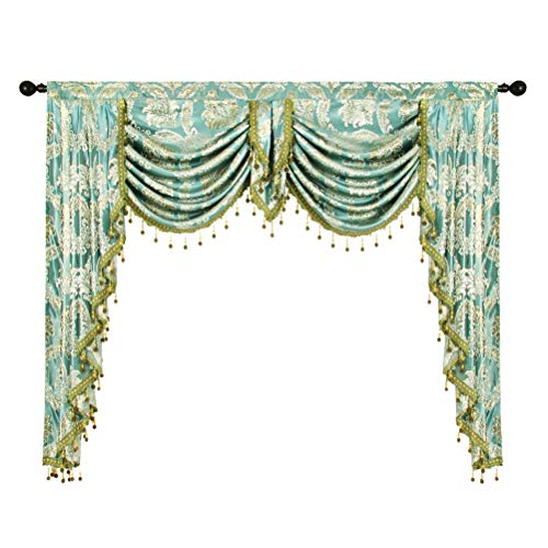 (elkca Golden Jacquard Swag Waterfall Valance Luxury Curtain Valance for Living Room (Damask-Blue, W59 Inch, 1 Panel))