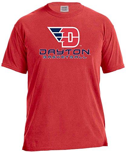 NCAA Dayton Flyers Basketball Energy Short Sleeve Comfort Color Tee, Large,Red