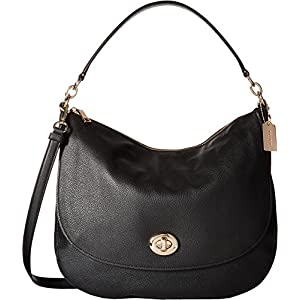 COACH Womens Pebbled Turnlock Hobo