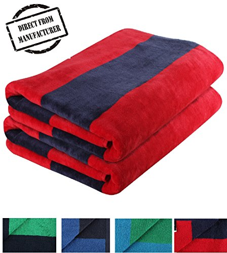 Avira Home 100% Cotton Beach Towel Striped Extra Large, Pack of 2, Highly Absorbent, Quick Dry, Beach sheet set, Rugby Stripe (Red & Navy) (Velour Sheet)