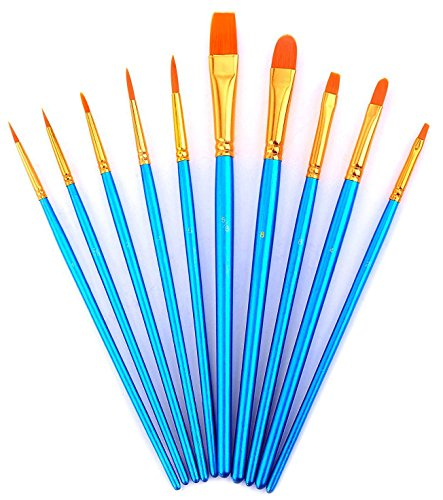 Wei Bond Art Paint Brush Set - Watercolor, Oil, Acrylic Paint/Craft, Nail, Face Paintng, etc (10 Pcs Blue)