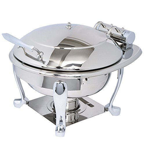 Eastern Tabletop 3939S Crown 4 Qt. Stainless Steel Round Induction Chafer with Freedom Stand and Hinged Dome Cover