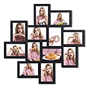 SONGMICS Picture Frames Collage for 12 Photos in 4  x 6  for Wall Mounting Multiple Picture Frames Glass Protection Display Wood Grain Black URPF22BK