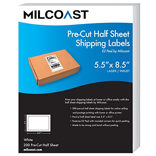 Milcoast Pre-Cut 5.5' x 8.5' Half Sheet Adhesive Shipping Labels – Easy to Peel, For Laser or InkJet Printers (200 Labels)