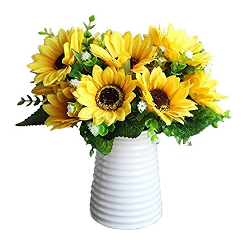 DIY Artificial Simulation Silk Sunflower Flower Plant Bouquet for Party Home Office Decor (2 (Fake Sunflowers In Bulk)