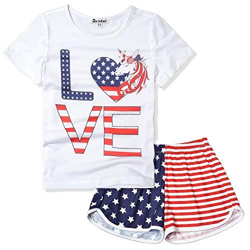 Girls Unicorn Pjs USA Flag Pajama Sets Kids Independence Day Cotton Sleepwear]()