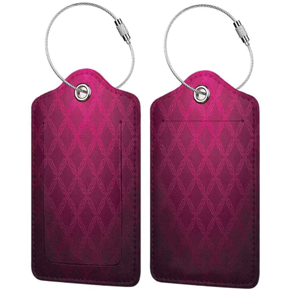Soft luggage tag Magenta Decor Victorian Damask Motif with Diamond Shaped Square Lines Middle Age Inspired Art Bendable Rosewood W2.7 x L4.6