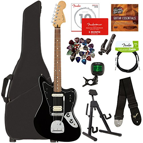 (Fender Player Jaguar, Pau Ferro - Black Bundle with Gig Bag, Stand, Cable, Tuner, Strap, Strings, Picks, Capo, Fender Play Online Lessons, and Austin Bazaar Instructional DVD)