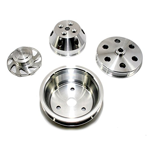 Assault Racing Products A8701-M Small Block Chevy Machined Serpentine Billet Aluminum Pulley Kit Long Water Pump SBC (Billet Pulley)