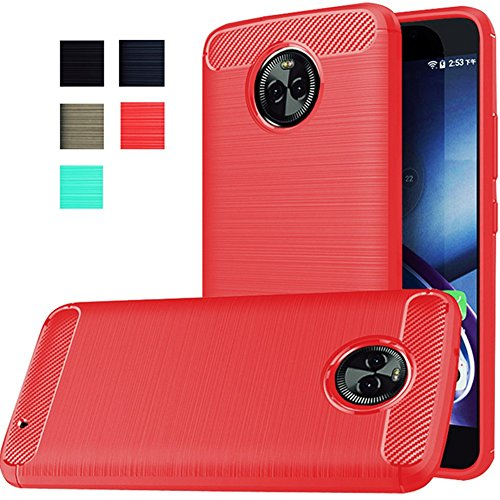 Moto X4 Case, Dretal [Shock Resistant] Flexible Soft TPU Brushed Anti-Fingerprint Full-Body Protective Case Cover for Motorola Moto X4 (2017) (Red)