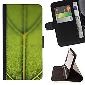 DEVIL CASE - FOR Samsung Galaxy S6 EDGE - Green Leaf Macro Nature - Style PU Leather Case Wallet Flip Stand Flap Closure Cover