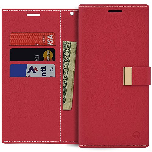 Qoosan Galaxy A6 Plus 2018 Case [Slim Fit] PU Leather Wallet [Folio Style] Protective Cover with [Card Holders & Magnetic Closure] Kickstand for Samsung Galaxy A6 Plus (2018) - Red