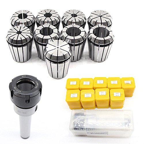 1pcs MT3 M12 ER32 Collet Chuck Morse Taper Holder + 9pcs ER32 Spring Collets FOR CNC Milling ()
