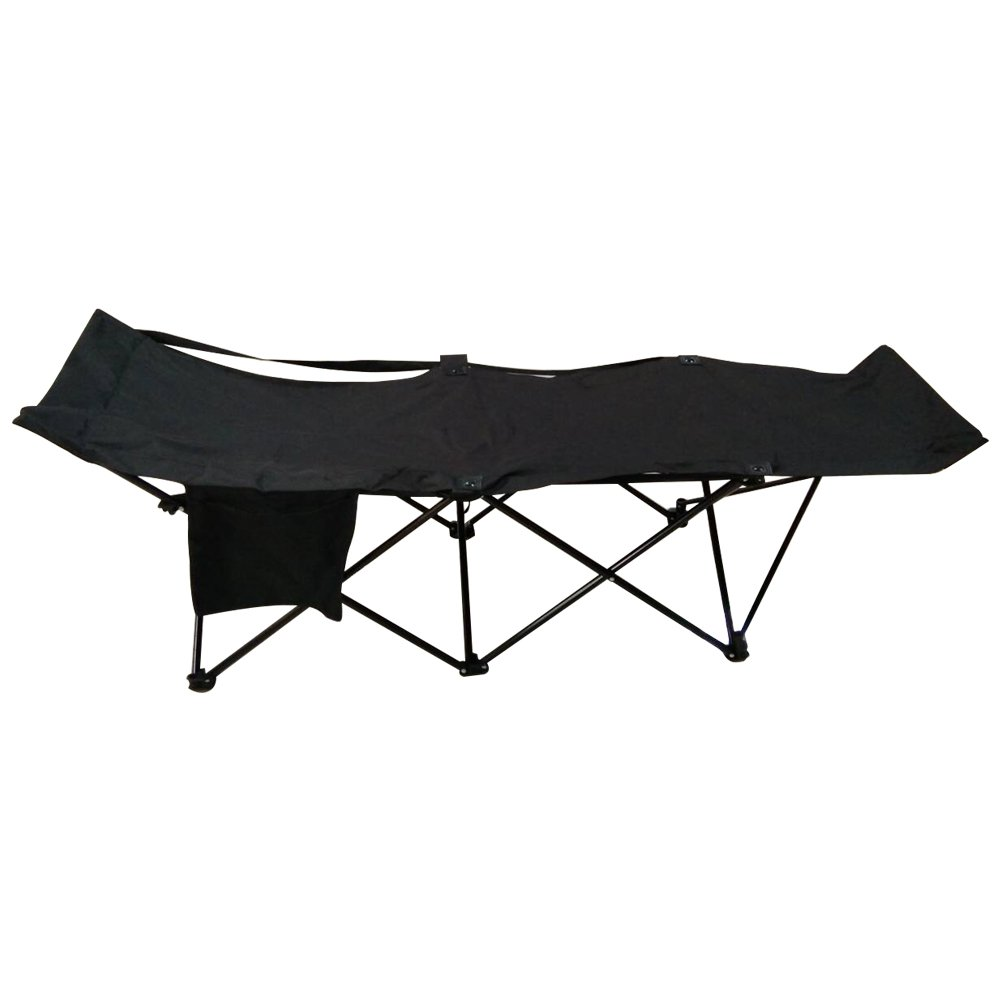 ALEKO FCB2BK Portable Collapsible Camping Bed with Side Storage Bag Black