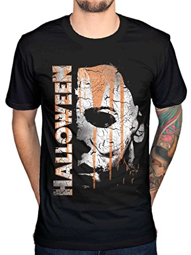 AWDIP Men's Official Halloween Mask And Drips T-Shirt Movie Film Michael Myers Jamie Lee Curtis ()