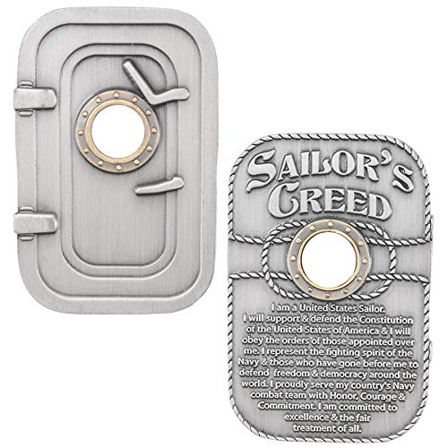 (Medals of America Bulkhead Door Sailor's Creed Challenge Coin Silver)