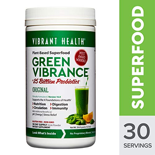 Vibrant Health - Green VibrancePlant-Based Superfood to Support ImmunityDigestionand Energy with Over 70 Ingredients25 Billion ProbioticsGluten Free Non-GMOVegetarian 30 Servings
