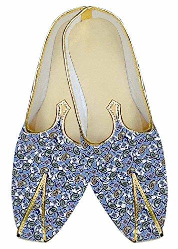 Inmonarch Mens Blue Sky Wedding Shoes Paisley Designs Mj014452