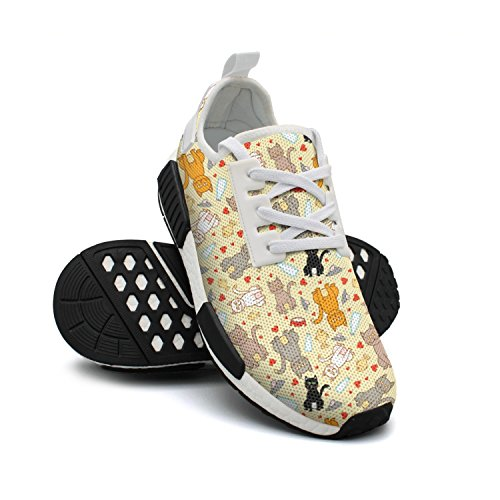 Fashion Breathable Background Sneakers Mesh Mice FAAERD Yellow Sneaker Cartoon Lightweight Colorful and Cat Womens Basketball RSxgxwdq