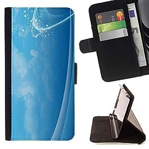 For HTC One Mini 2 M8 MINI Case , Calma cielo Calmante Nubes chispa brillante- la tarjeta de Crédito Slots PU Funda de cuero Monedero caso cubierta de piel
