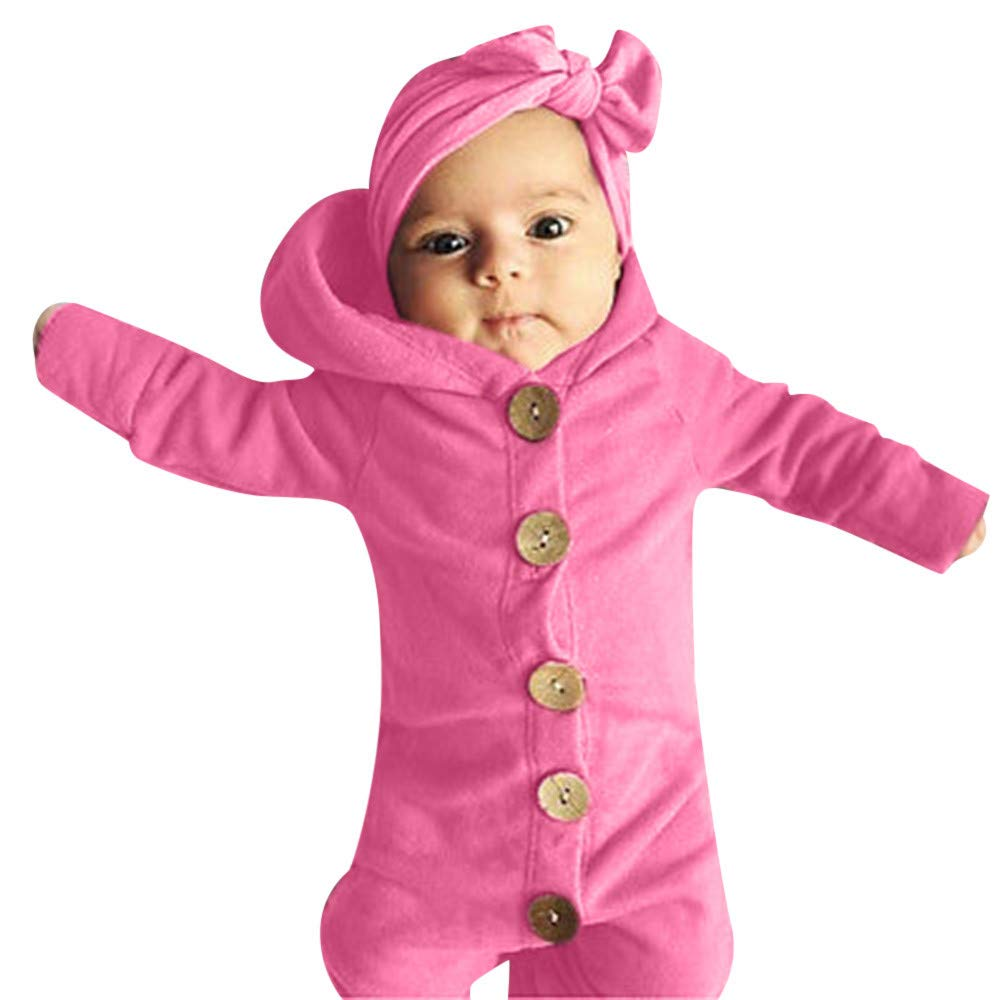 Kshion Toddler Infant Newborn Baby Girl Boy Long Sleeve Solid Hooded Jumpsuit Romper Winter Robes Crawling Outfits (Pink, 6-12 M)