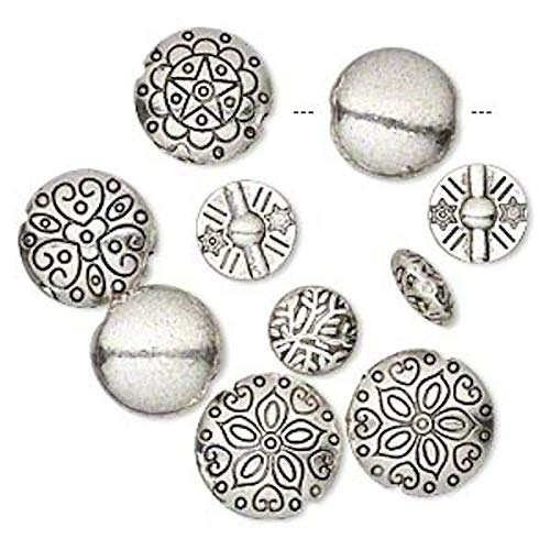 (10 Antiqued Silver Plated Pewter Puffed Round Coin Bead Mix ~ 12-19mm)