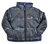 Hurley Infant Boys Plaid Charcoal & Royal Blue Reversible Jacket