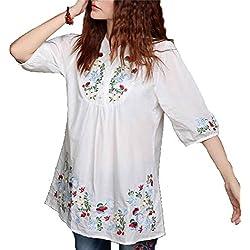 kafeimali mexicano de la mujer blusa bordado Peasant Dressy Tops 3/4Manga, Blanco, Mediano