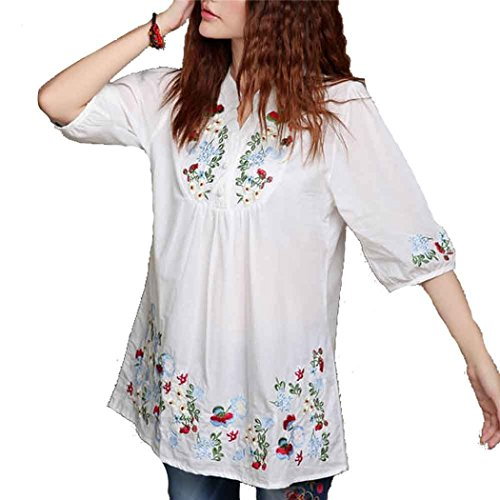 Kafeimali Women's Mexican Blouse Embroidered Peasant Dressy Tops 3/4 Sleeve Shirt (White)