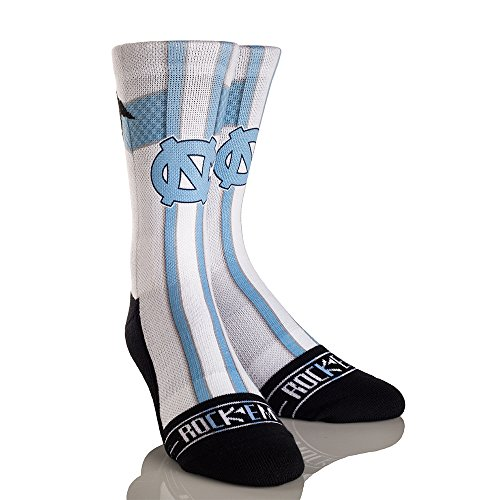 Ncaa North Carolina Tar Heels Jersey Series University Custom Athletic Crew Socks  Large X Large  White