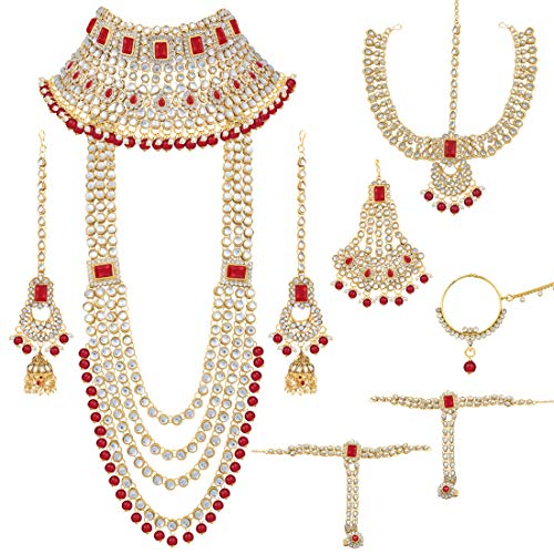 (Aheli Traditional Wedding Indian Bridal Jewelry Set Long Choker Necklace Earrings Maang Tikka Nath Paasa Hath Phool in Faux Kundan Beads (Red))