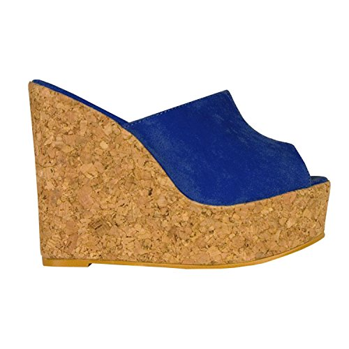 Syktkmx Womens Platform Wedge Sandals High Heel Slip on Peep Toe Cork Mules Slides (8 B(M) US, Navy)