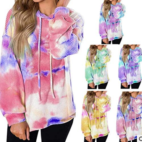 Womens Tie Dye Oversized Hoodie Casual Waffle Knit Sweatshirts Ombre Fashion Tunic Tops